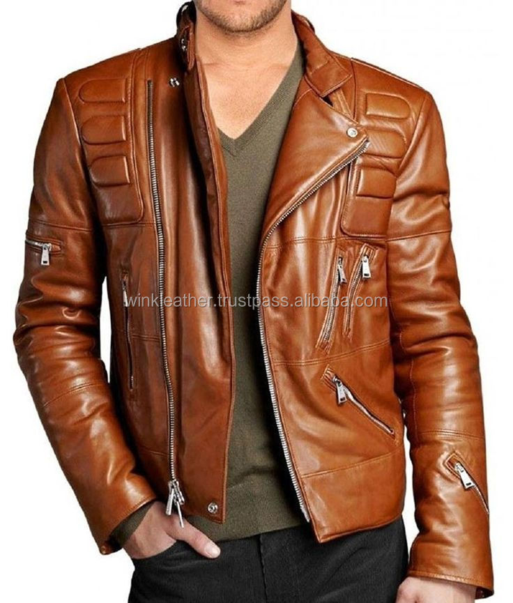 Men's Leather biker genuine leather jacket