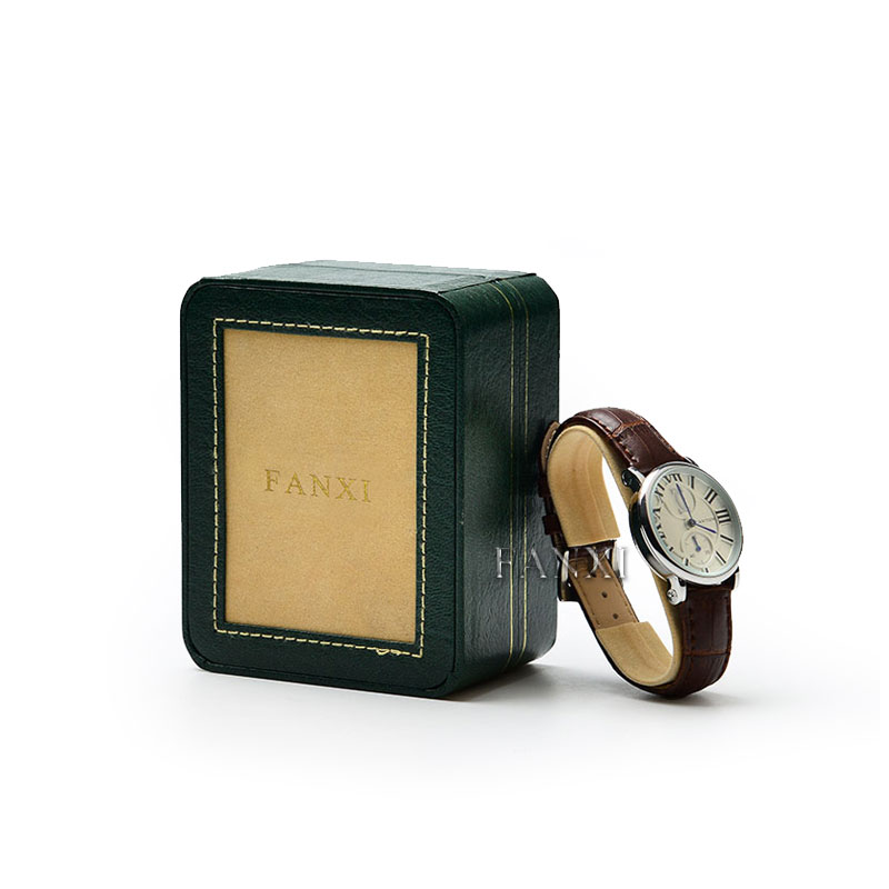 FANXI China Whole Custom Logo Luxury Green Leather Packing Boxes Watch Packaging Box
