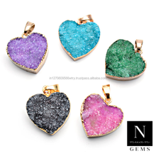 druzy pendant gemstone pendant 24k gold electroplated heart shape necklace pendant