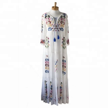 2bd712098e9 Tunic 70s Vintage Embroidery Mexican Dress Summer fashion Mexican  embroidered 100% Factory Price women Cotton