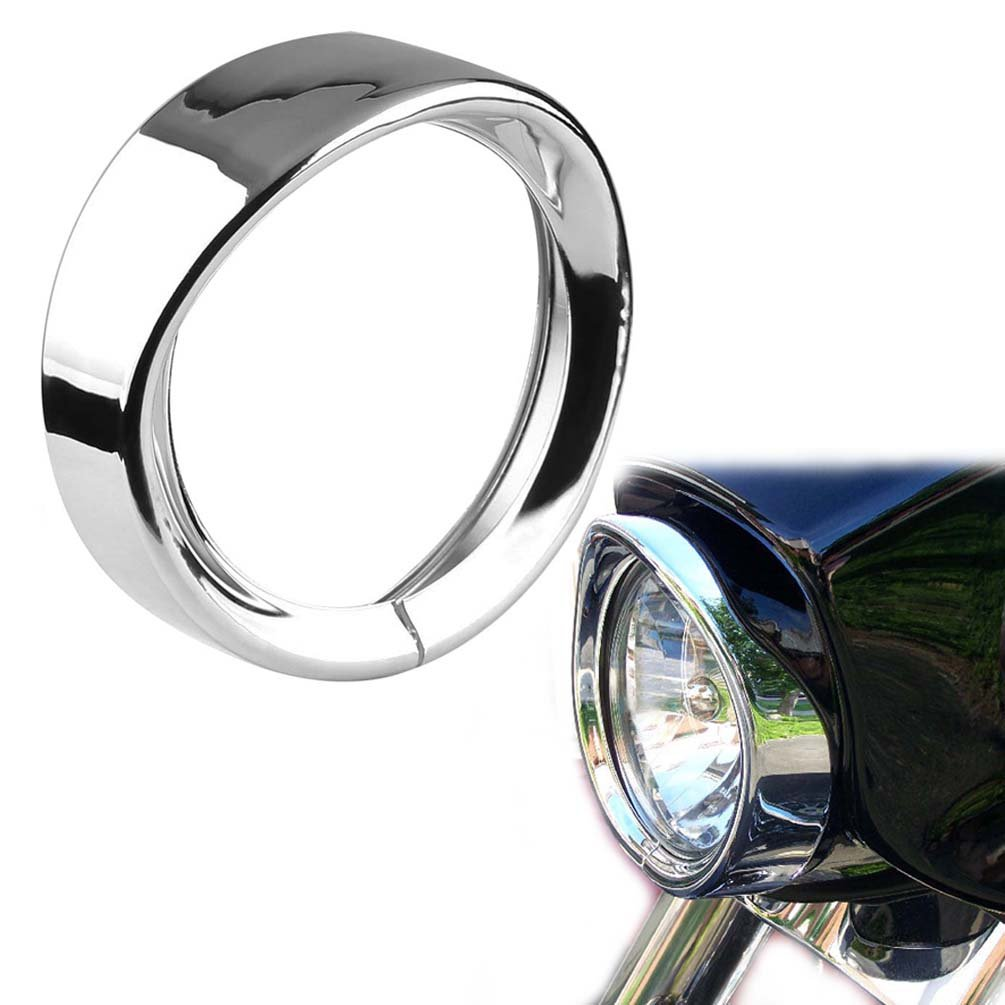 "ROCCS 7Inch Harley Headlight Chrome Ring, 7"" Motorcycle Headlight Trim Rings Decorate Ring For Harley Davidson 83-13 Touring Bikes, Road King 94-14 FLHR, 12-14 FLD, 86-14-FLST, 1PC"