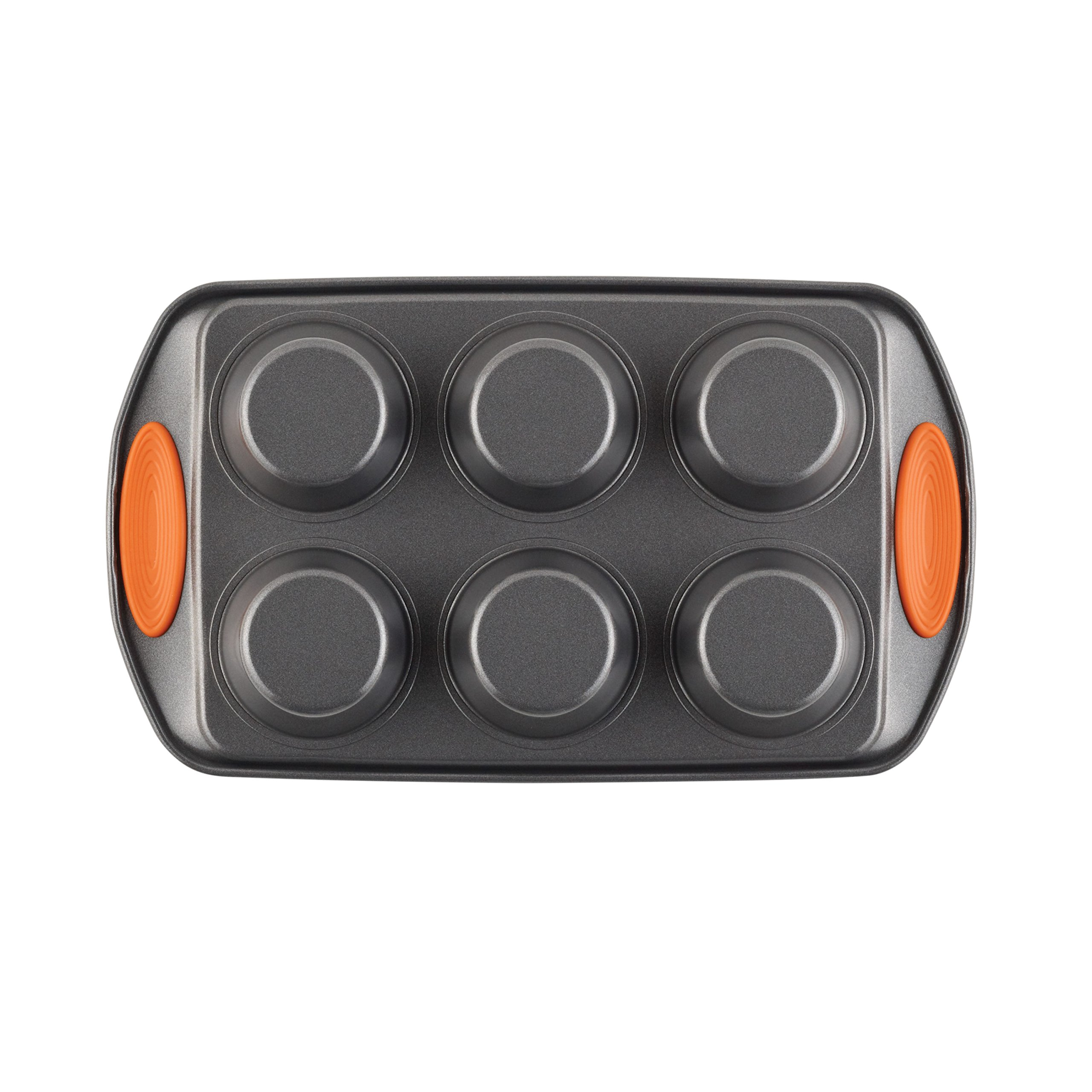 Rachael Ray Yum-o! Nonstick Bakeware 6-Cup Oven Lovin' Cups Muffin Pan, Gray with Orange Handles
