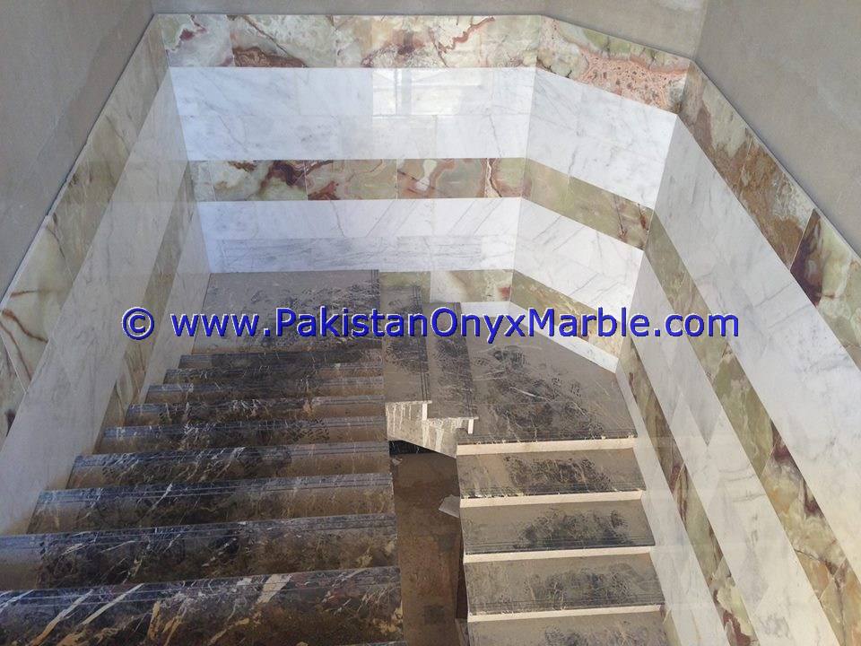 NATURAL STONE MARBLE STAIRS STEPS RISERS BLACK AND GOLD MARBLE MODERN DESIGN