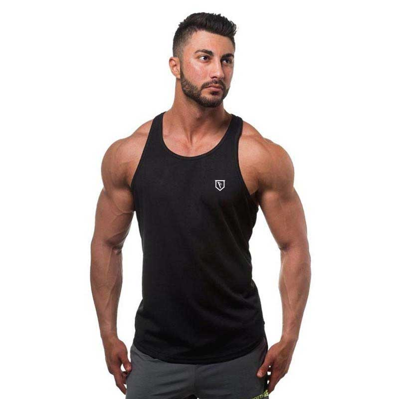 Custom Merk Printing Fitness Tank Top, 100% Katoen Man GYM Tank Top, MANNEN GYM TOP