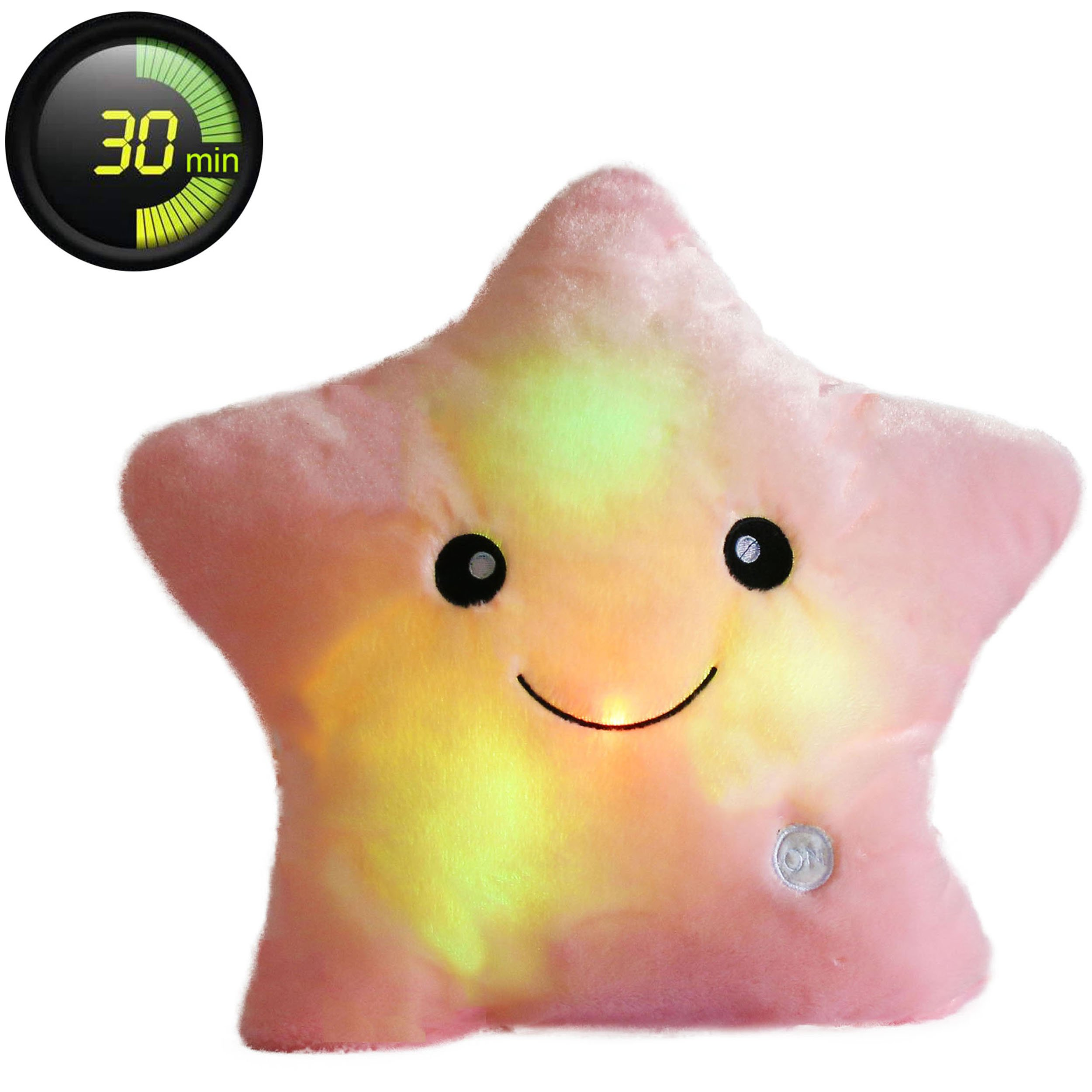 Wewill Creative Twinkle Star Glowing LED Night Light Plush Pillows Stuffed Toys (Pink)