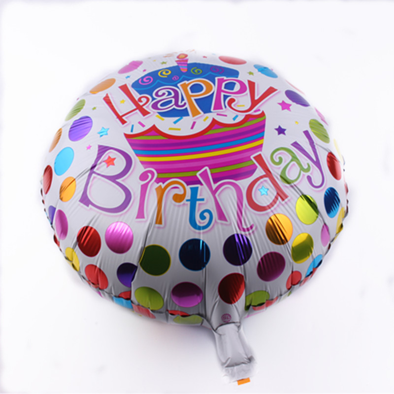 2018 New Arrival 18inch Happy Birthday Decoration Big Cake Cartoon Colourful Candy Printed Balloon With Inflating