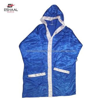7533602ab2 Best Quality custom Blue with white trims boxing robes professional fighter gown  boxing