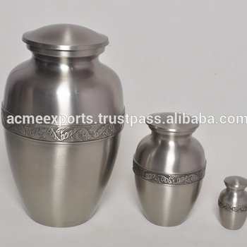 Classical Brass Cremation Urn For Funeral With Pewter Finish