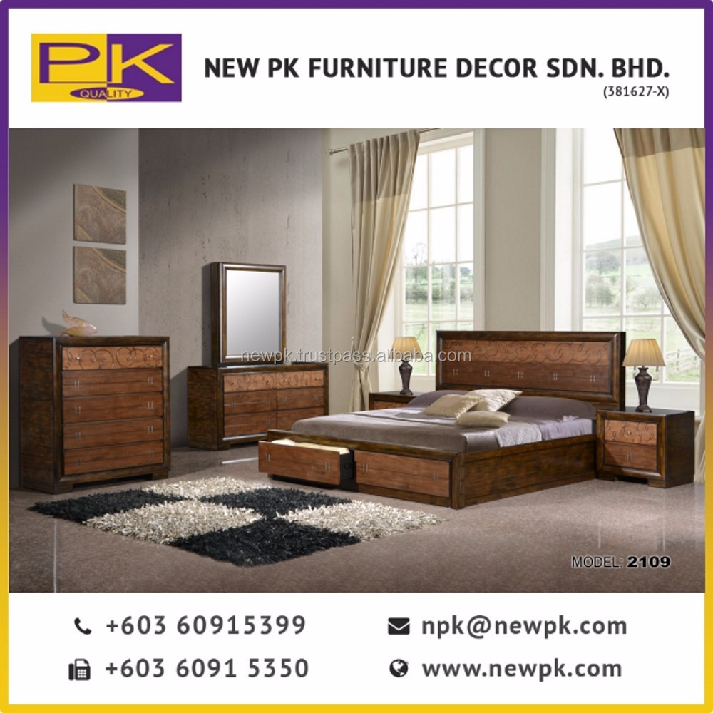 Best Quality Bedroom Set Furniture Npk 2109 Country Style Wooden In Brown