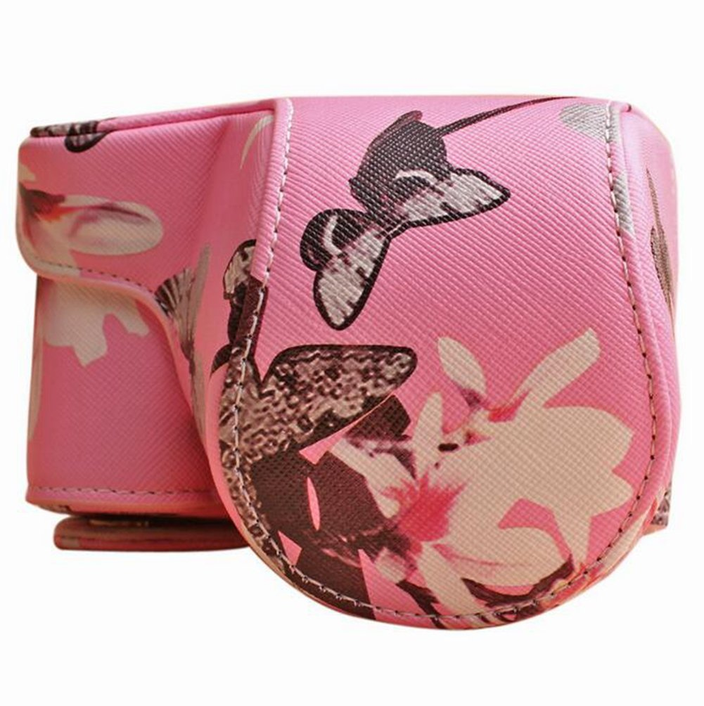 PU Leather Camera Bag for Sony A6000 A6300,Turpro PU Leather Flower Case Cover Pouch Bag with Shoulder Strap for Sony Alpha A6000 A6300 Camera with 16-50mm Lens (Pink)