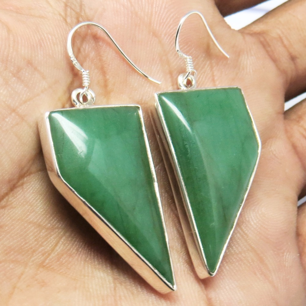 Happy Life !! Green Aventurine 925 Sterling Silver Earring, Indian Jewelry Manufacturer, 925 Silver Jewelry