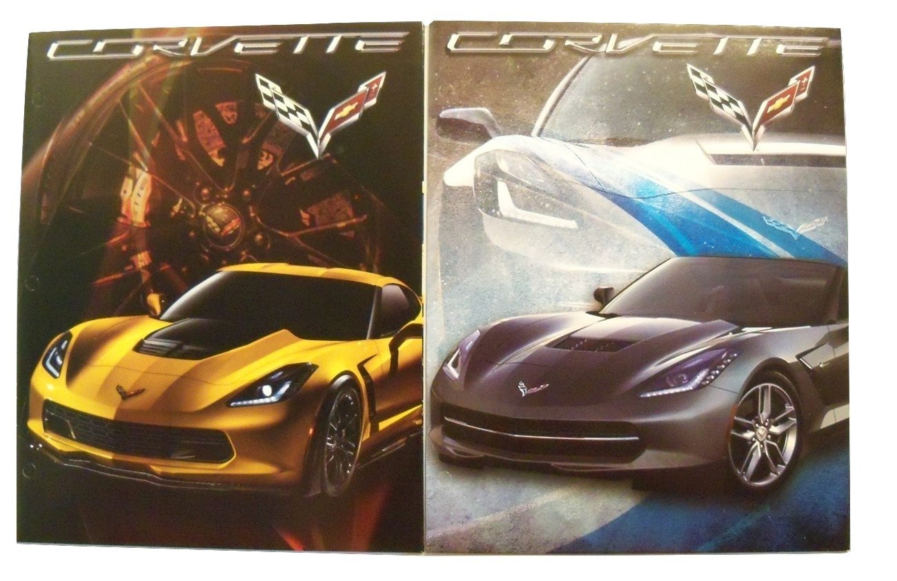 Muscle Car 2 Folder Set ~ GM Corvette (Silver 2015 Corvette Stingray Convertible, Yellow 2015 Corvette Z06)