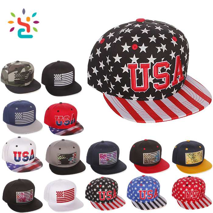 Patch embroidery USA flag snapback hat plain brim baseball caps blank sport  cap with Plastic buckle adjuster fd84ec1bd2a