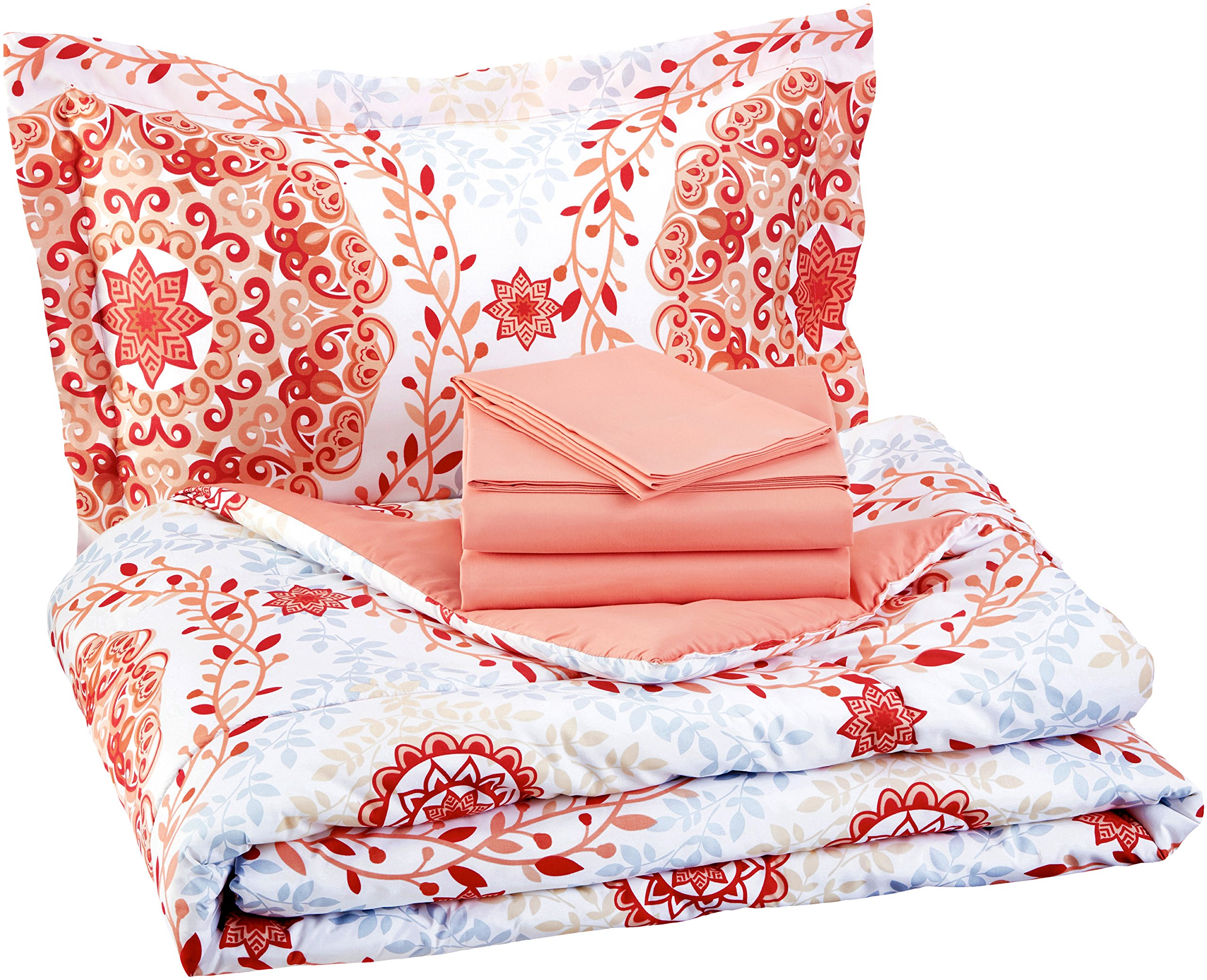 AmazonBasics 5-Piece Bed-In-A-Bag - Twin/Twin Extra-Long, Coral Medallion