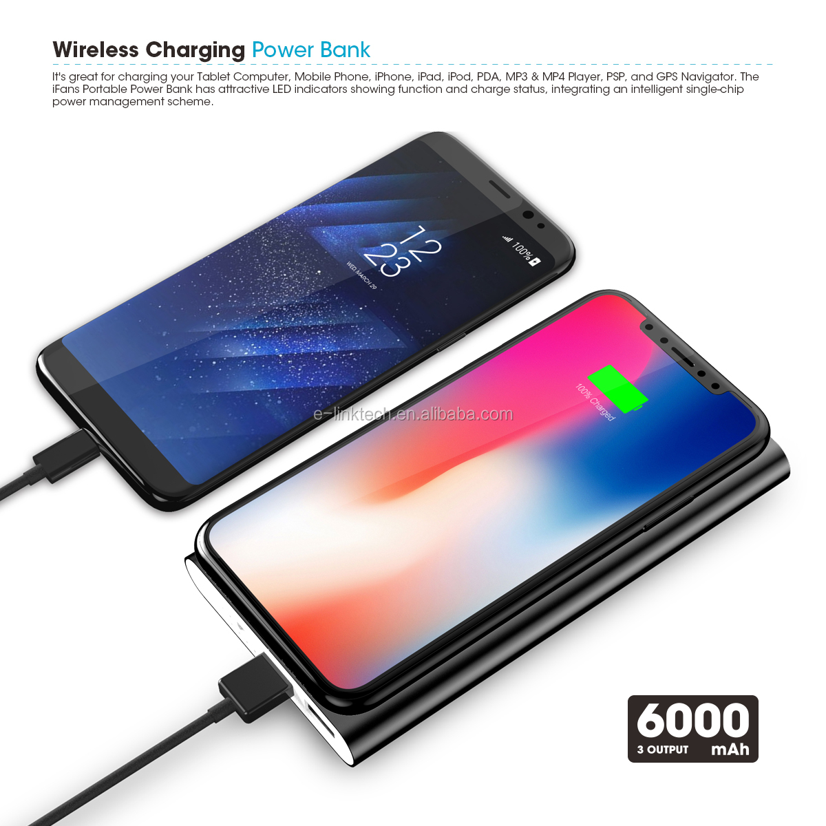 3 in 1 Dual USB  wireless charger mobile phone qi wireless charger power bank