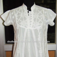 Summer Dress Beachwear Embroidered White Tunic for Girls Women