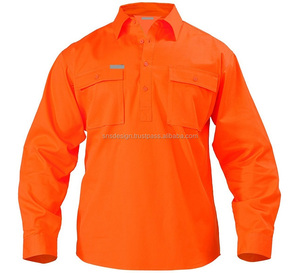 Men Work Wear Shirt Uniform Special Uniform Bangladesh made Long Sleeve Reflective Safety Shirt