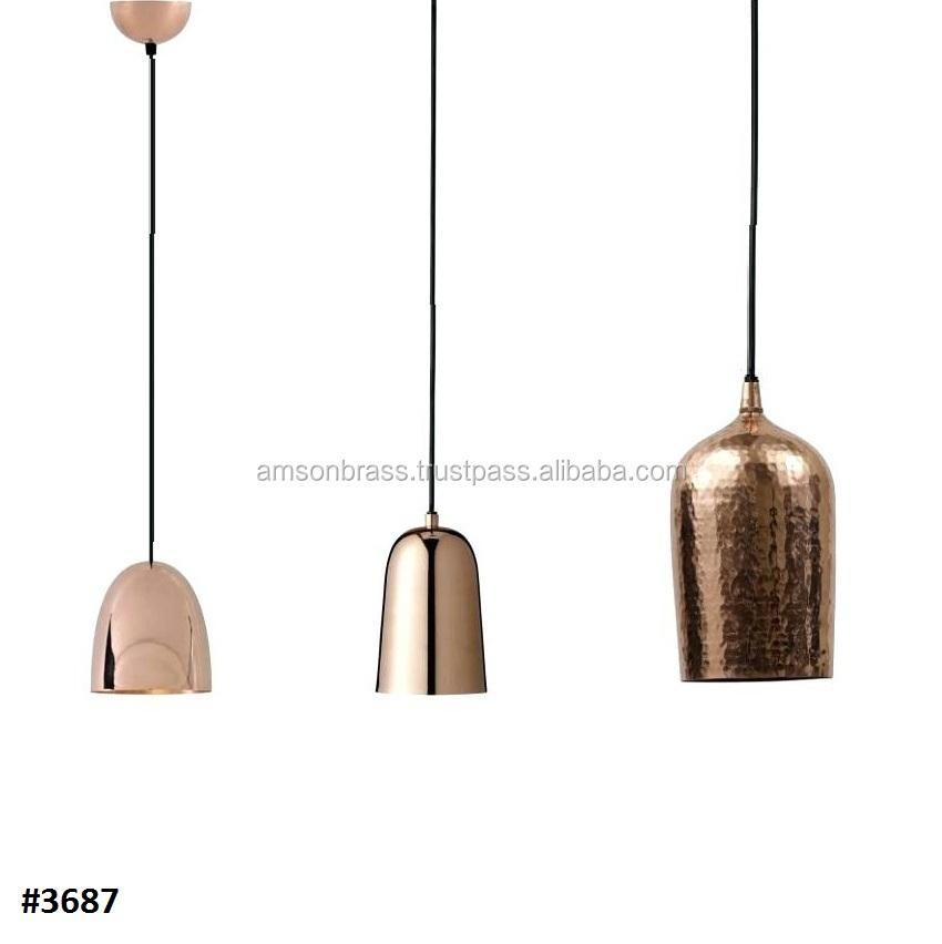 Hand Hammered Shiny Copper Pendant Lighting