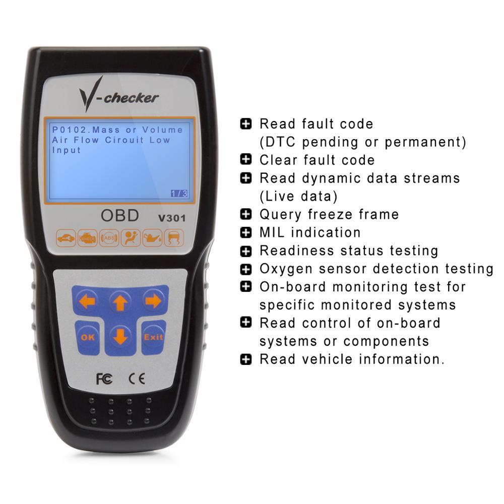 V-checker V301 Eobd Obd2 Scanner Car Engine Fault Code Reader Can  Diagnostic Scan Tool - Buy Obd2 Scanner,Eobd Obd2 Scanner,Car Engine Fault  Code