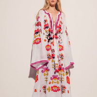 Celebration Heavy Embroidery Ukrainian Swinging Tassel Extra-Wide Sleeve Loose And Breezy Maxi Dress