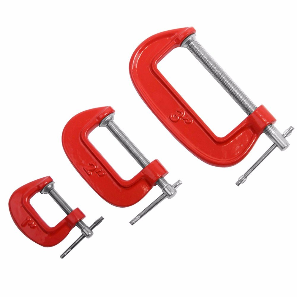 Wideskall 3 Pieces Heavy Duty Malleable C Clamp Set