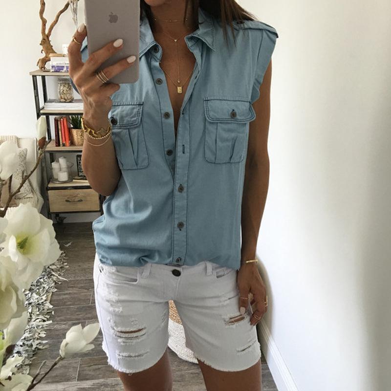 Sans Nouveau Manches Mode Femmes Jeans Blouse Sexy Débardeurs Gilet nUw7YqUxr