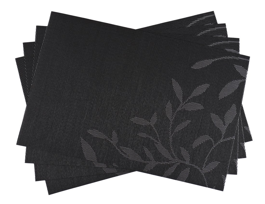 SiCoHome Placemats Leaves Black,Set of 4,Placemats for Dining Table Heat Insulation Stain-resistant Woven Vinyl Kitchen Placemat Vinyl Placemats