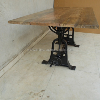 Industrial Furniture Drafting Dining Table With Reclaimed Wood Top - Buy  Reclaimed Wood Bar Dining Table,Wood Rustic Dining Table,Exotic Wood Dining  ...