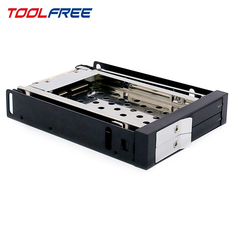TOOLFREE di 2 Bay da 2.5 pollici mobile rack HDD Enclosure Trayless SATA/SAS 6G 7 ~ 9.5 millimetri SSD /HDD Con Serratura