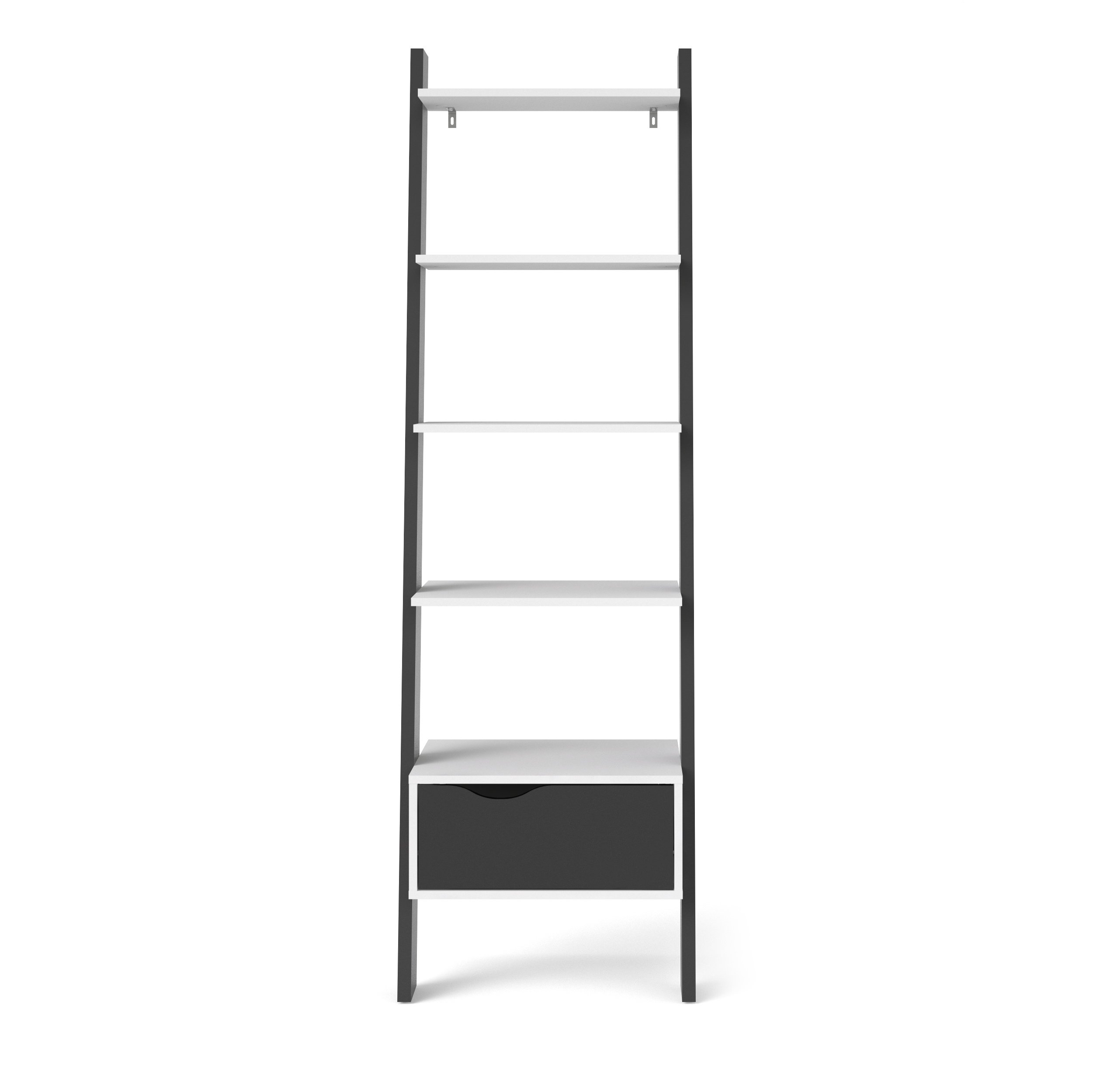 Tvilum 7538549gm Diana Bookcase with 1 Drawer, White/Black Matte