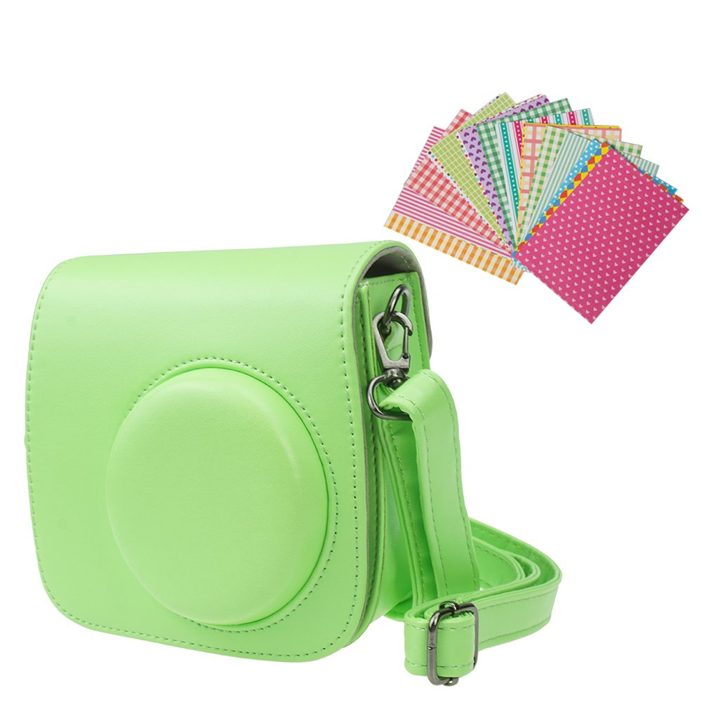 Anntic Lovely Instax Mini 8/8+/9 Case PU Leather for Fujifilm Instax Mini 9/Mini 8/Mini 8+ Instant Film Camera with Strap and 20 PCS Stickers (Grass Green)