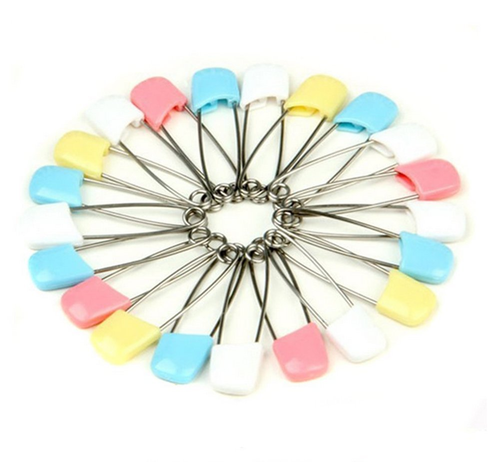 20PCS 40mm Baby Infant Kids Cloth Diaper Nappy Pins Safety Pins Clips Color Random