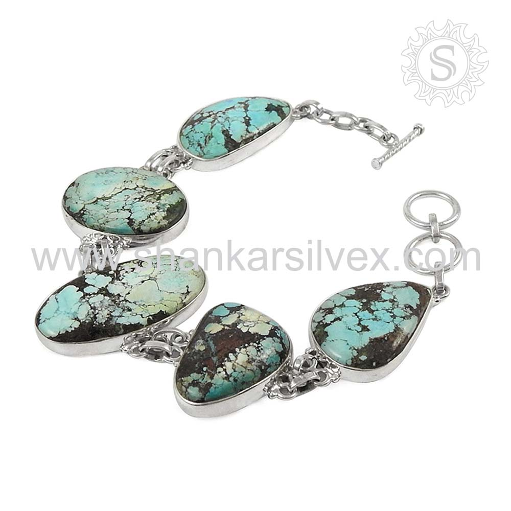 Luxuriou bracelet 925 sterling silver turquoise gemstone bracelet jaipur silver jewelry exporter