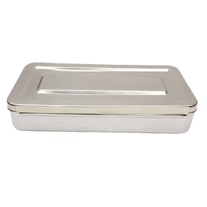 Dental surgical instrument Storage Box with Lid Various Sizes Premium Grade 304 Stainless Steel By Medorial Industry