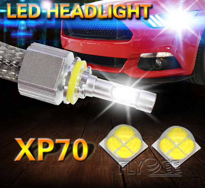 Flydee Xhp70 H4 H7 9005 9006 Car LED Headlight Bulbs H11 Led H8 Led Lamp Chip 6600LM Headlamp Fog Lights 6000K