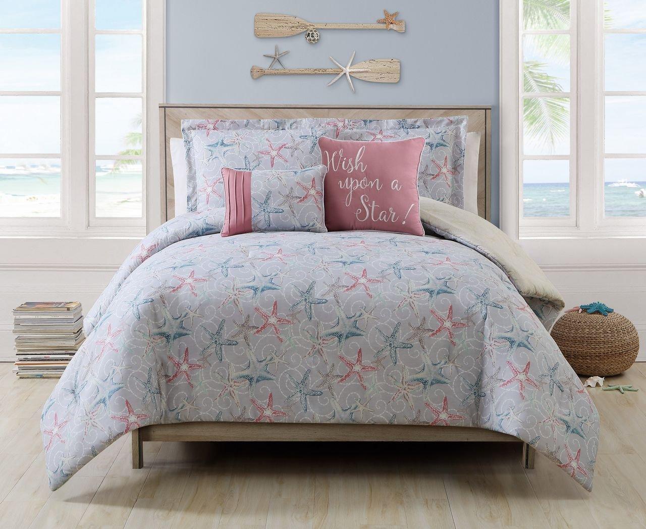5 Piece Cabrillo Beach Gray/Ivory/Coral Reversible Comforter Set Queen