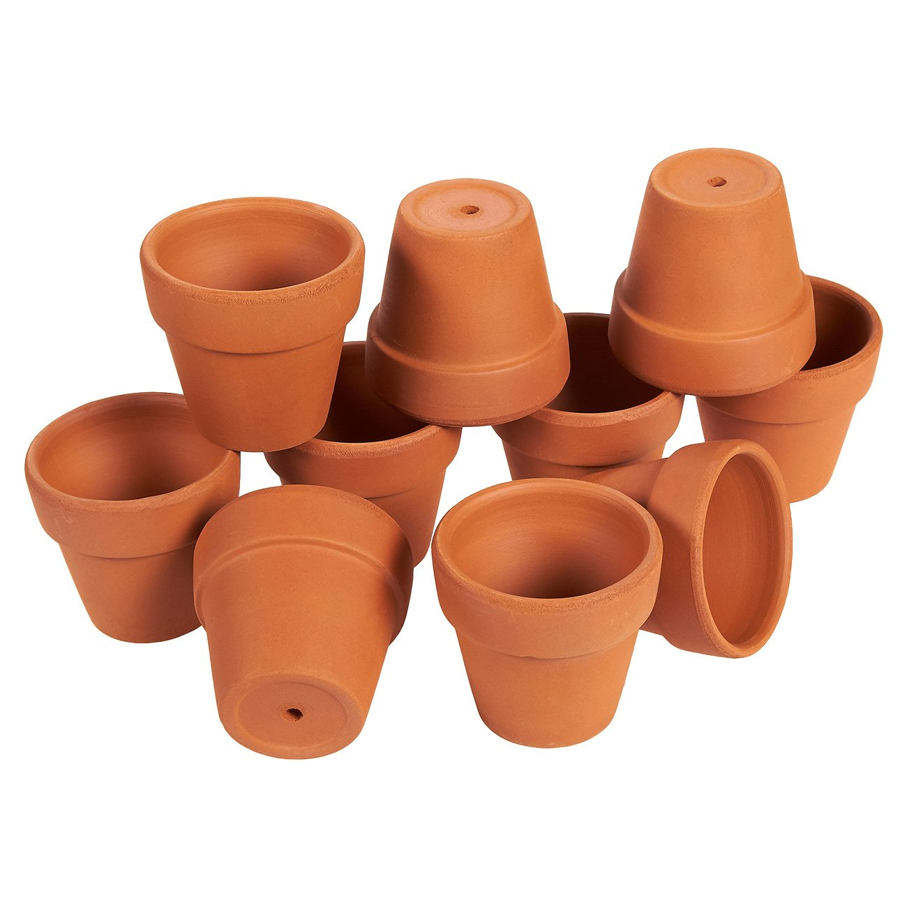 Terra Cotta Pots - 10-Set Clay Flower Pots, Mini Flower Pot Planters for Indoor, Outdoor Plant, Succulent Display, Brown - 1.6 x 2.5 Inches