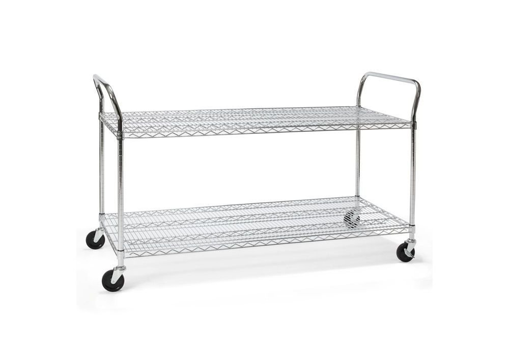 "Heavy Duty Mobile Cart 60""W x 24""D Chrome Dimensions: 60""W x 24""D x 37.75""H Weight: 55 lbs"