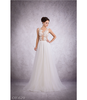 Best Seller Sexy Nude Wedding Dress Bridal Wear Bridesmaid Dress Customized See Through Back Beaded Hand Made Lace Buy Crystal Bead Lace Wedding