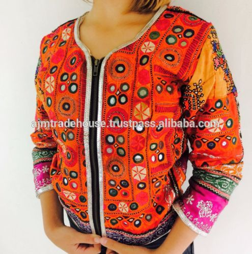 One of a Kind banjara tribal afghani handembroidery gypsy leather jacket/embroidered jackets women