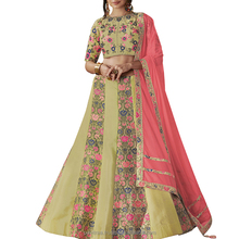 Pair this delectable Light Olive Green lehenga with Pink Dupatta.