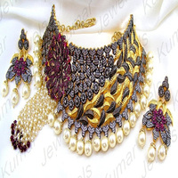 Indian Statement Heavy Diamond Look Gold Plated CZ Ruby Pearl Beaded Oxidized Party Wedding Wear Choker Necklace