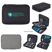 Electronics Organizer Travel Case - stores cables, chargers, batteries, adapters, earbuds and has multiple pockets