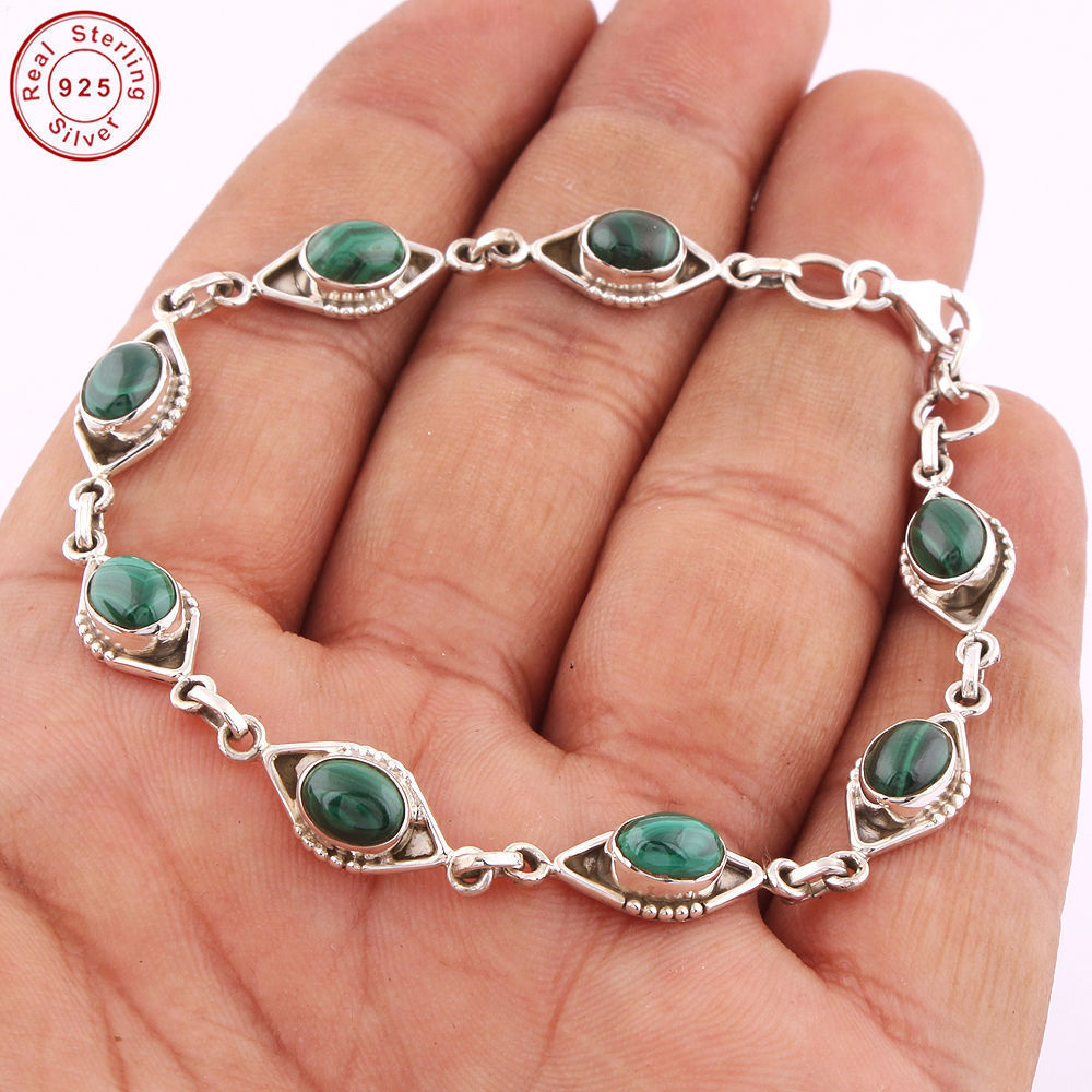 Semi precious malachite jewelry chain Bracelet new design wholesale 925 sterling silver jewelry bracelet