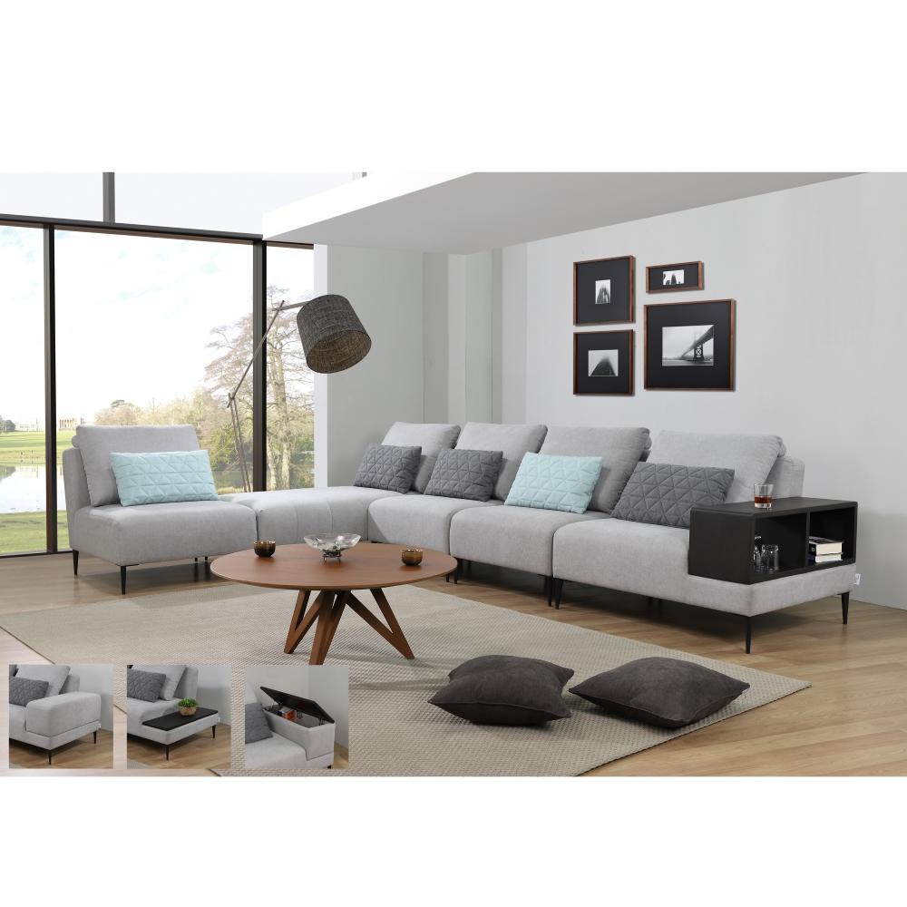 Soofie Modern Modular Shape Sofa With Cabinet Living Room
