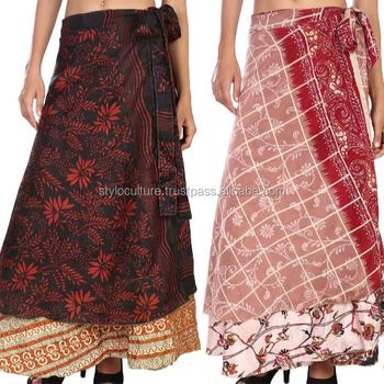 70f7f47d5 Indio Único Sari Vintage Doble Capa Mujeres Magic Wrap Faldas - Buy Falda  Plisada Mágica,Envolver Alrededor De Faldas,Falda De Seda Sari Product on  ...