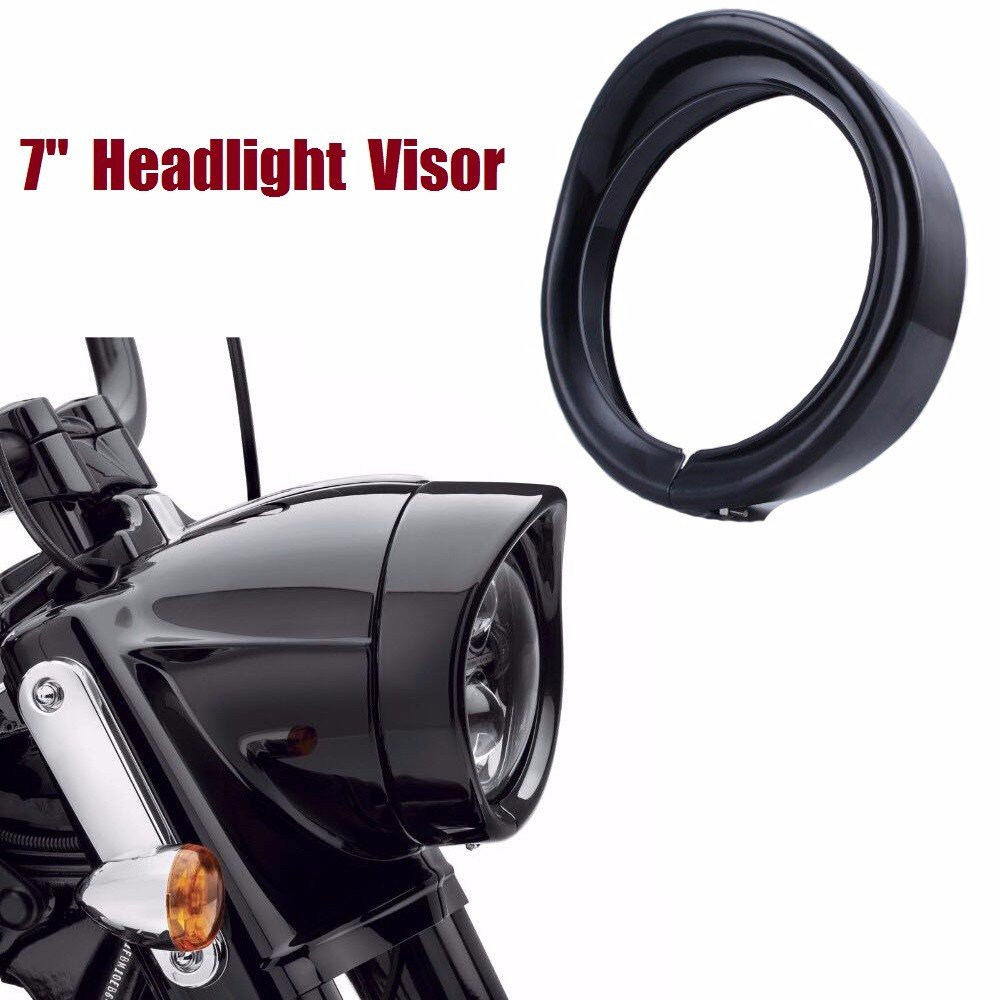 """MOTORCYCLE BLACK 7"""" HEADLIGHT TRIM RING VISOR FOR HARLEY FLH FLHS FLHT ROAD KING 60-13"""