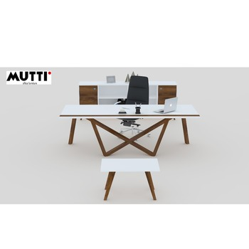 WINGS Executive Desk with asymetrical solid wood legs