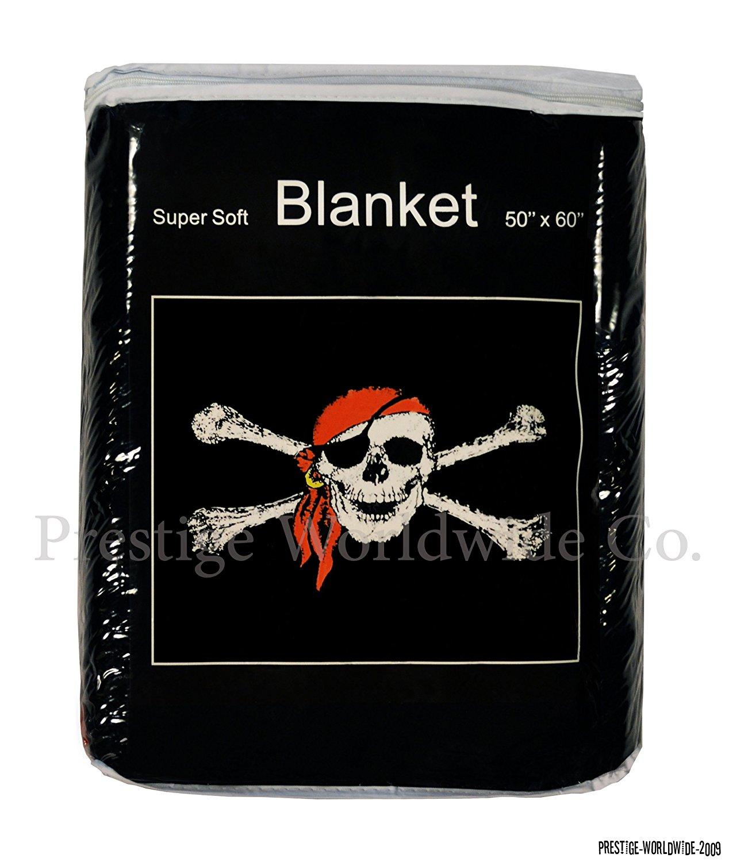 Jolly Roger Skull w/ Bandana Fleece Blanket *NEW* 5 ft. x 4.2 ft. Pirate Flag Skull & Crossbones Throw Cover