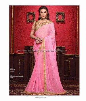 2f4a4a56aa Embroidery Designer Saree With Heavy Blouse - Buy Plain Saree With ...